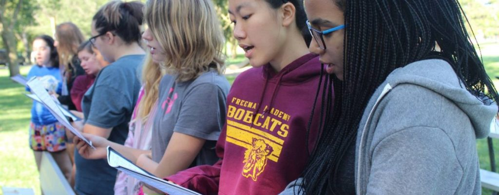 Students Singing Outside